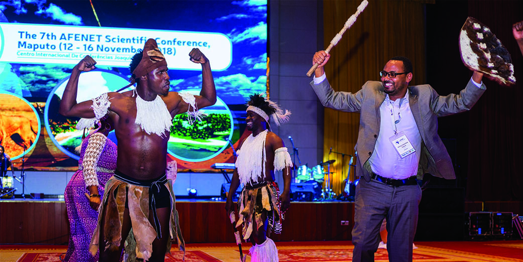 Dr Getachew Tollera participating in the cultural presentation during the 7th AFENET Scientific Conference Cultural Night 13 November 2018