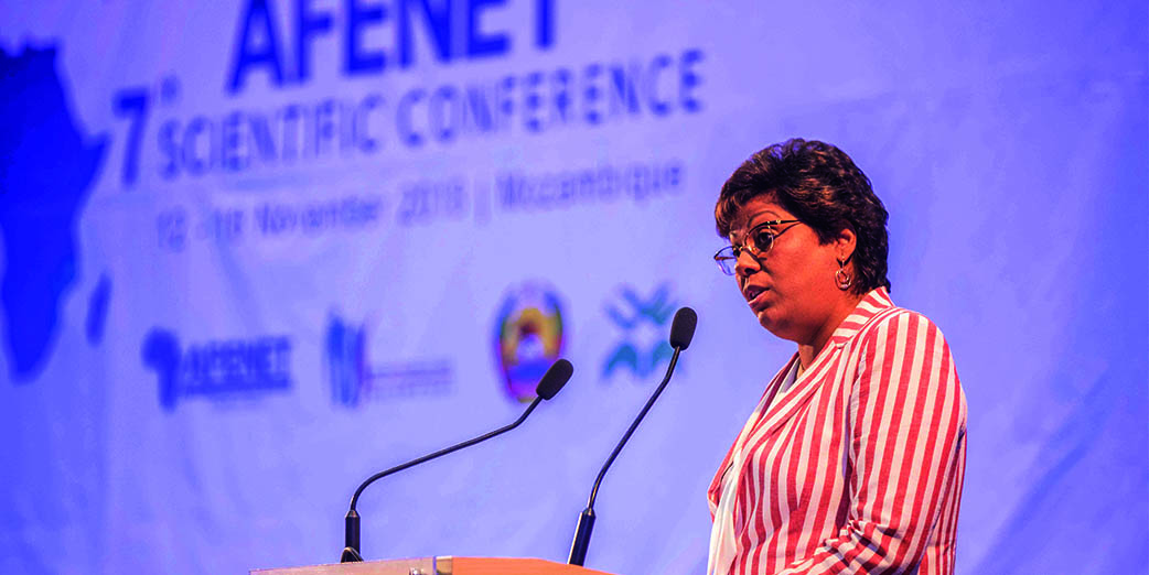 Honourable Dr. Nazira Karimo Vali Abdula, Minister of Health, Mozambique making remarks during the opening ceremony for the 7th AFENET Scientific Conference on 12 November 2018 in Maputo Mozambique