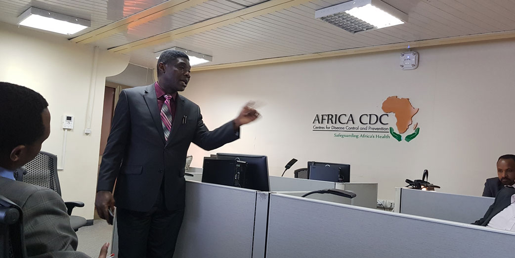 Center – Dr Chima Ohuabunwo Executive Director AFENET together with Africa CDC fellows at the Africa CDC office Addis Ababa Ethiopia