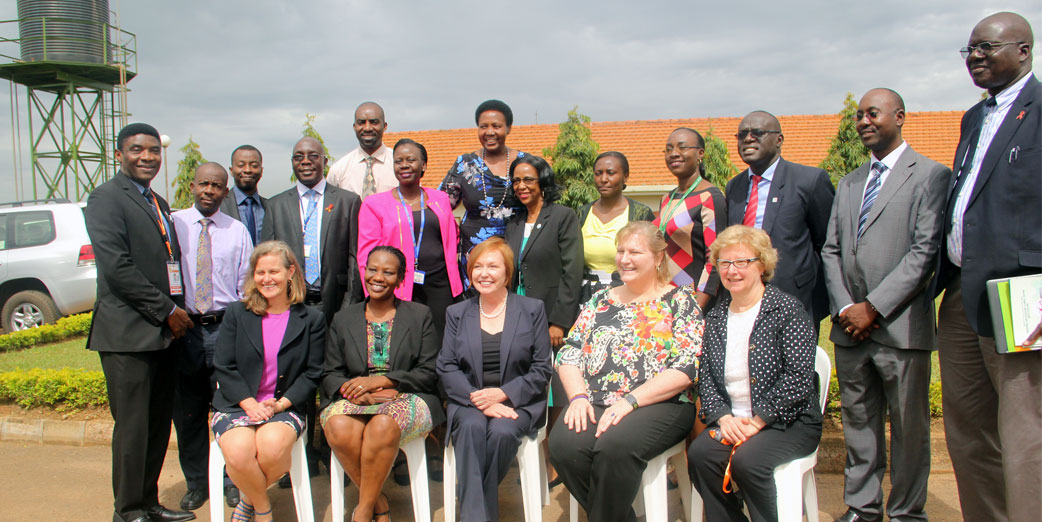 (extreme left) Dr. Chima Ohuabunwo, Executive Director, AFENET, (Seated Center) Dr. Brenda Fitzgerald, the CDC Director and other implementing partners during the round table partner meeting,  Mildmay Uganda, Offices, October 2017.