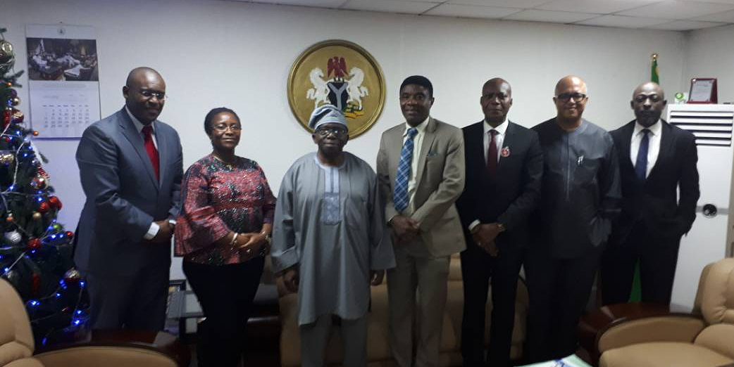 L-R: Dr. Patrick Nguku, Dr. Evelyn Ngige, Professor Isaac Adewole, Dr. Chima Ohuabunwo, Mr. Osarenoma Clement Uwaifo Permanent Secretary of the Ministry of Health, Dr. Chikwe Ihekweazu (CEO, Nigeria Centre for Disease Control), and Dr. Muhammad Shakir Balogun on 10 January 2018