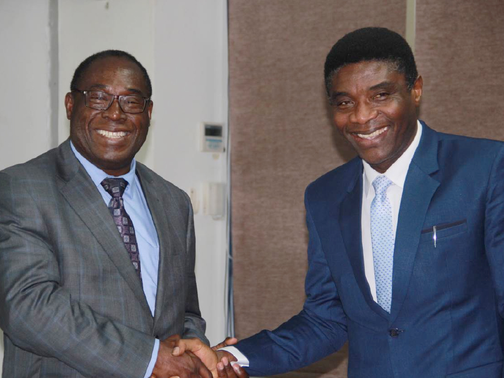 Prof Tshimanga Mufuta welcomes new Executive Director, Dr. Chima John Ohuabunwo (Photo courtesy of Racheal Chelimo)