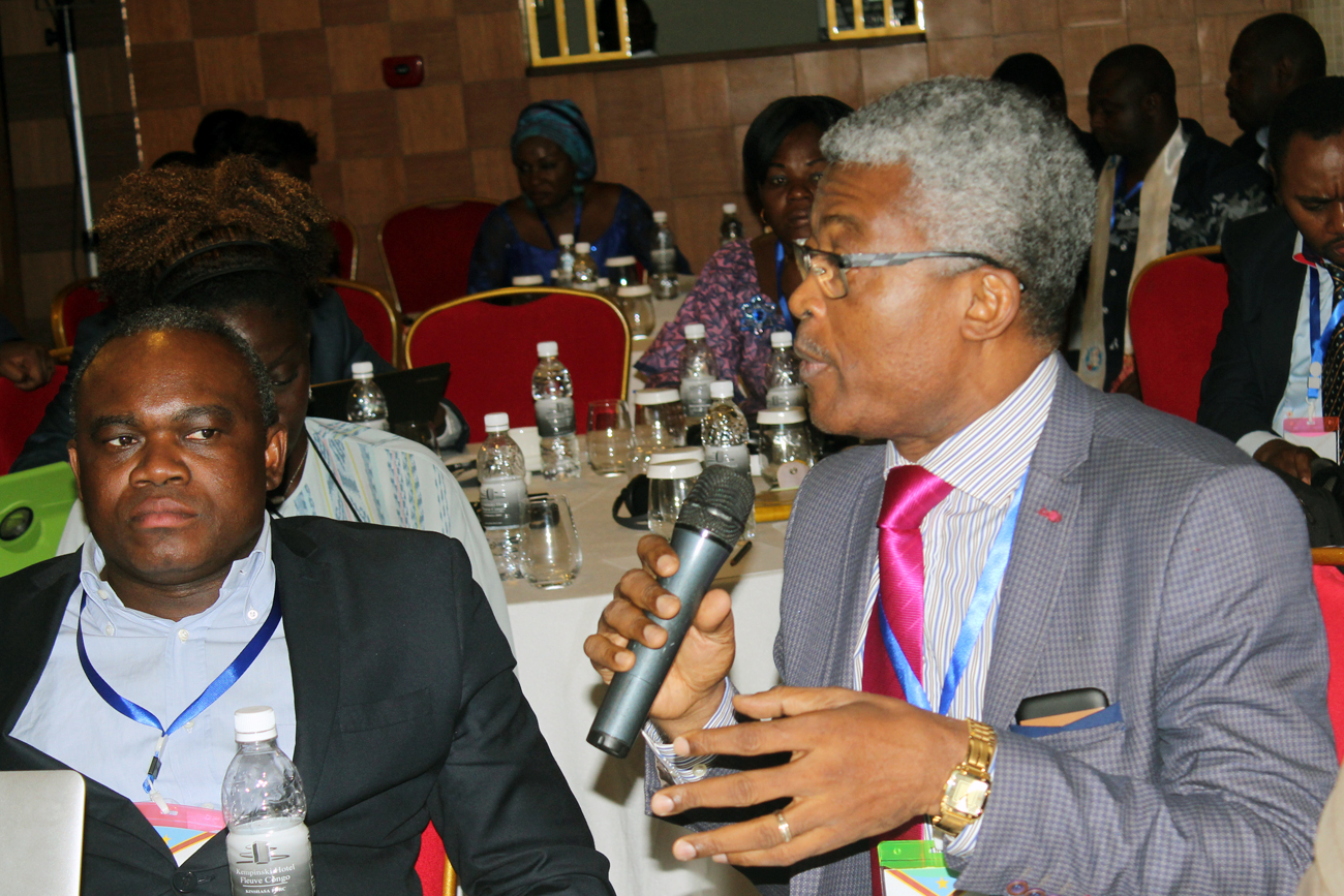 Dr. Etoundi Mbala (Cameroon FELTP Director) stresses a point at the Francophone Conference while Dr. Simon Antara (WA FETLP Resident Advisor) looks on