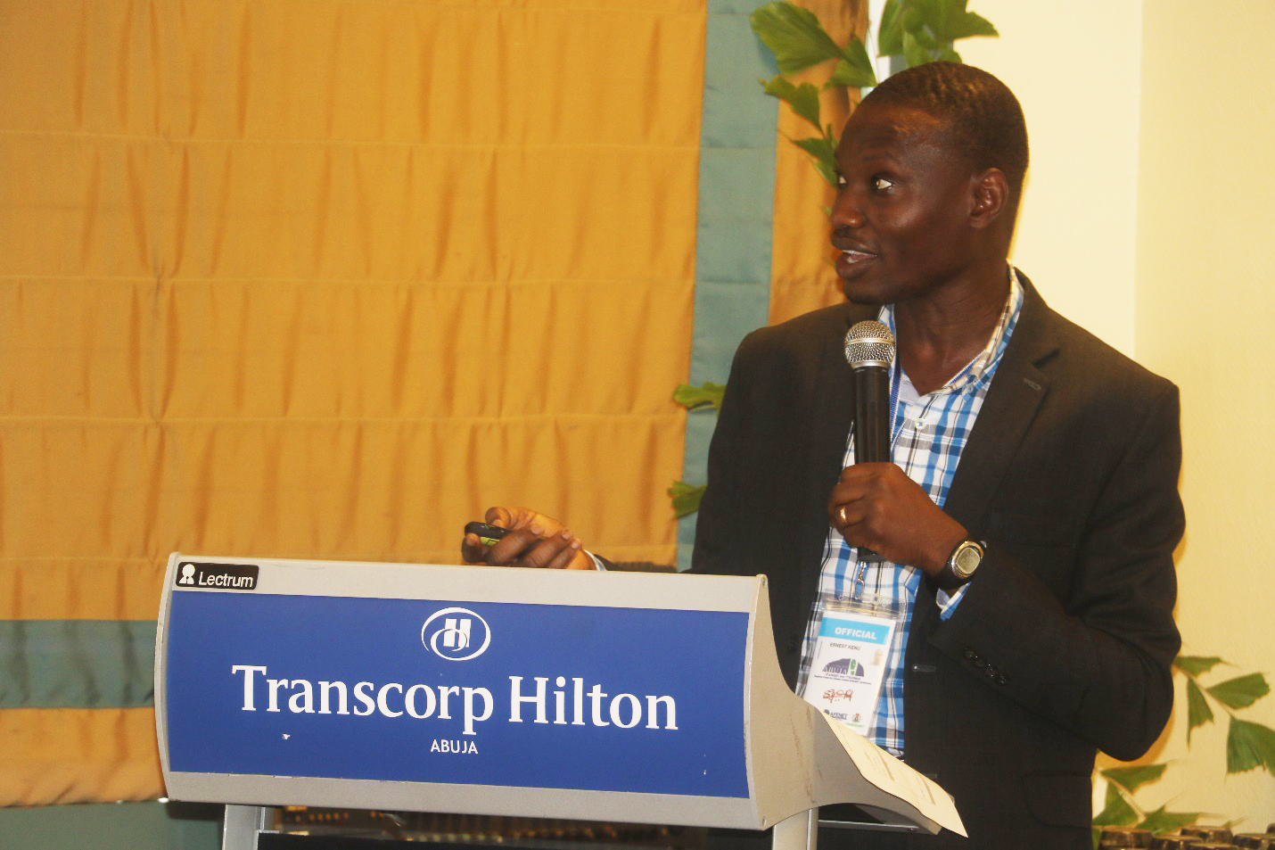 Dr. Ernest Kenu, Ag. Director – GFELTP, making a presentation on Monitoring and Evaluation at the Transcorp Hilton Hotel, Abuja – Nigeria during the 6th AFENET Scientific Conference
